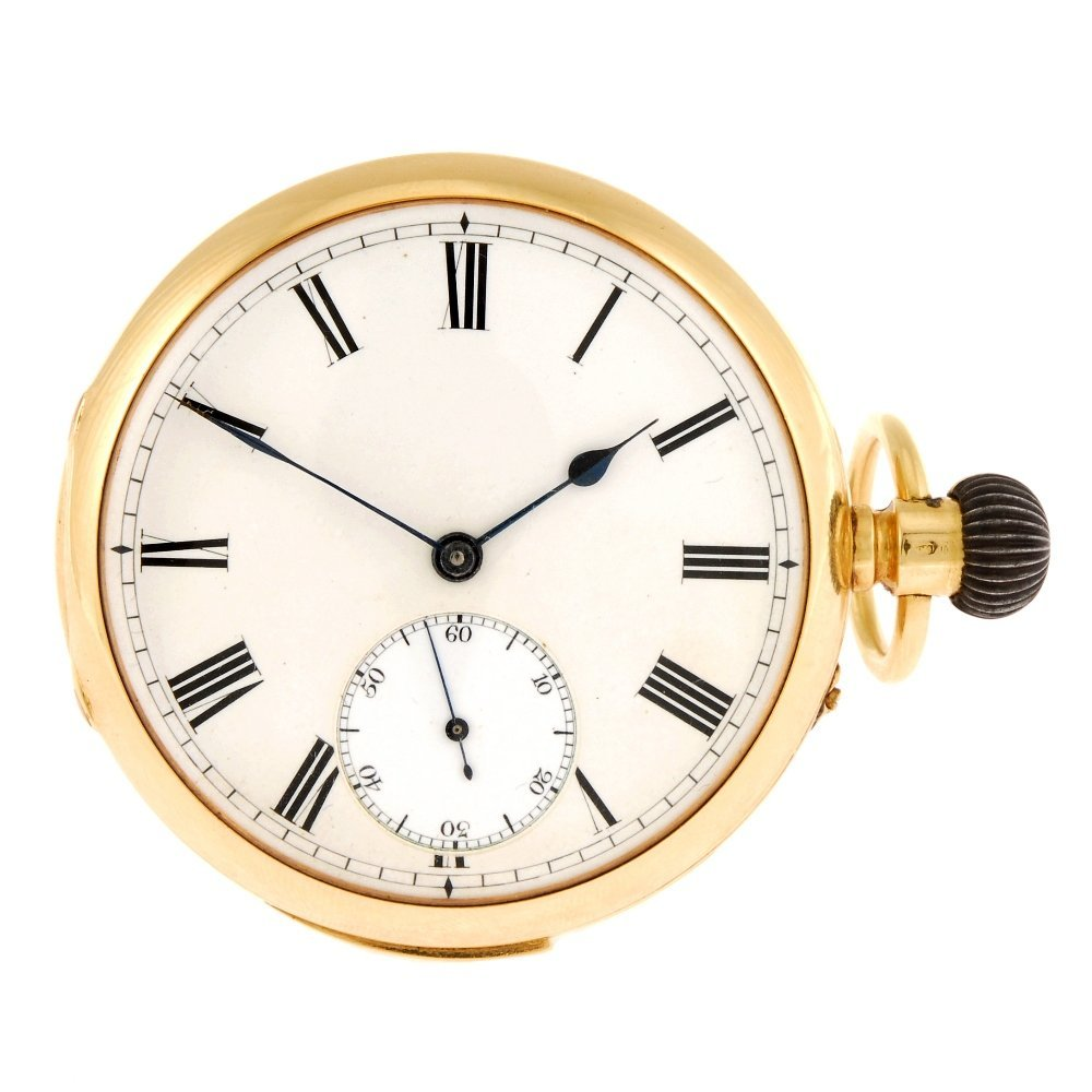 An 18ct gold keyless wind open face minute repeater poc