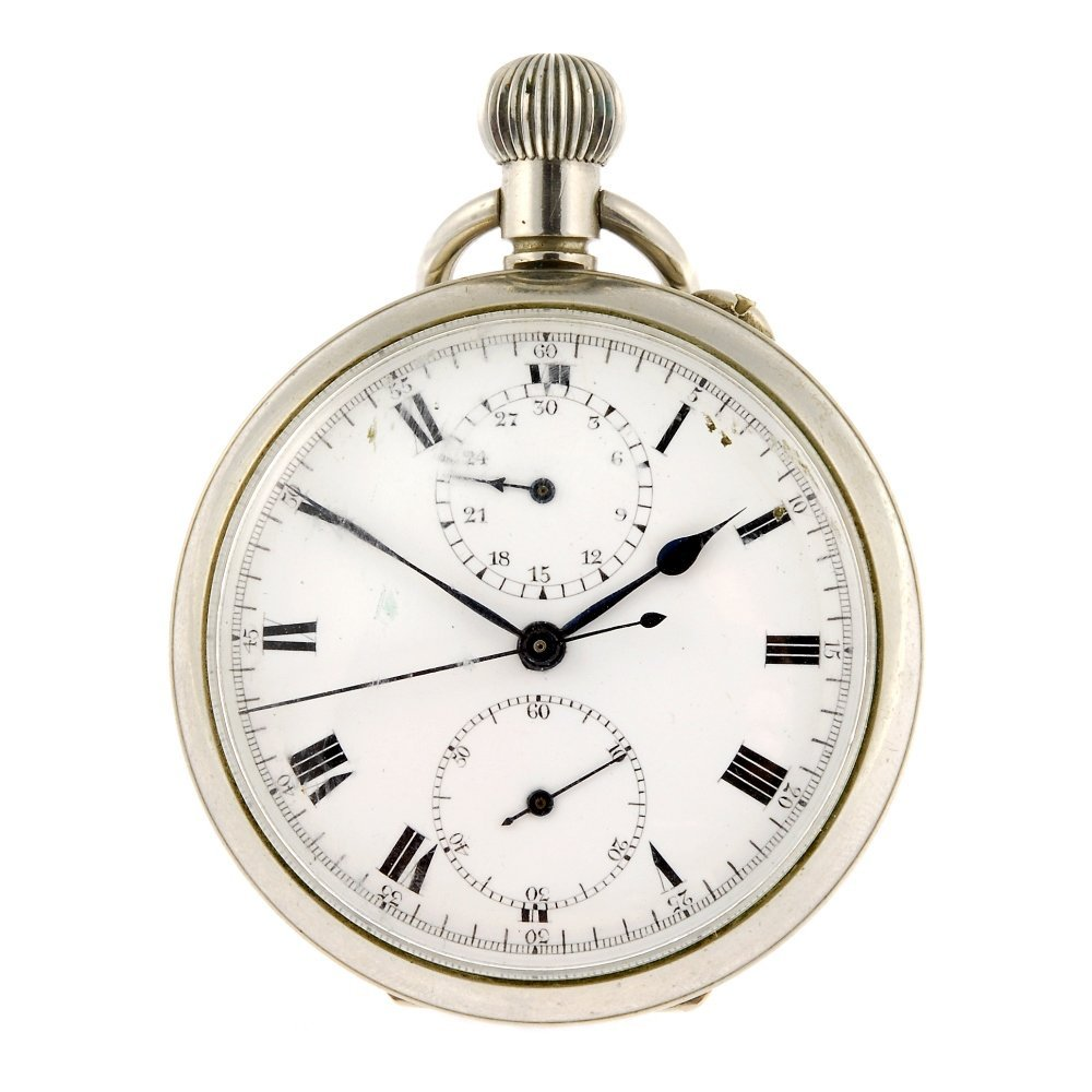 A base metal keyless wind open face chronograph pocket