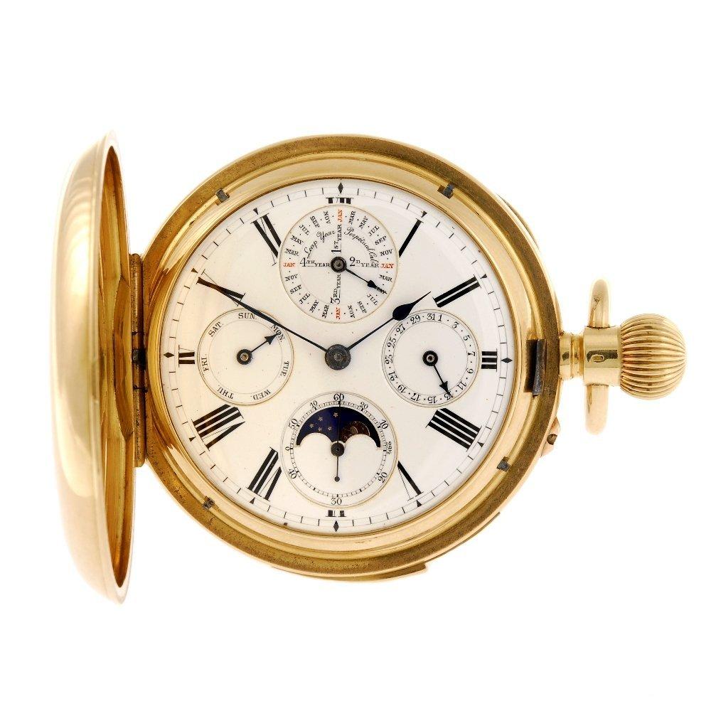 An 18k gold keyless wind full hunter perpetual calendar