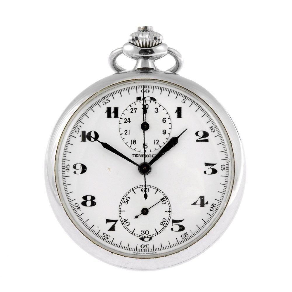 A base metal keyless wind open face pocket chronograph
