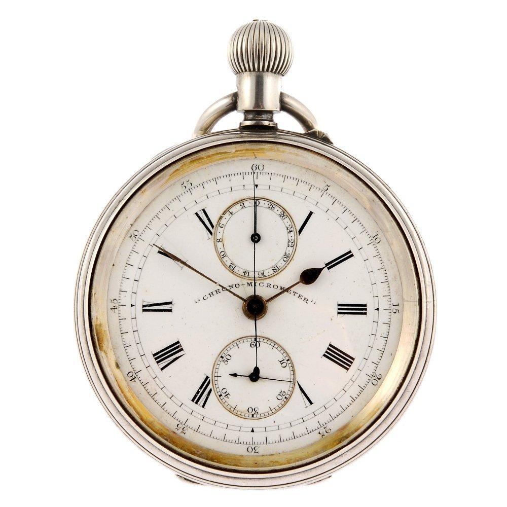 A silver keyless wind open face  chronograph pocket wat