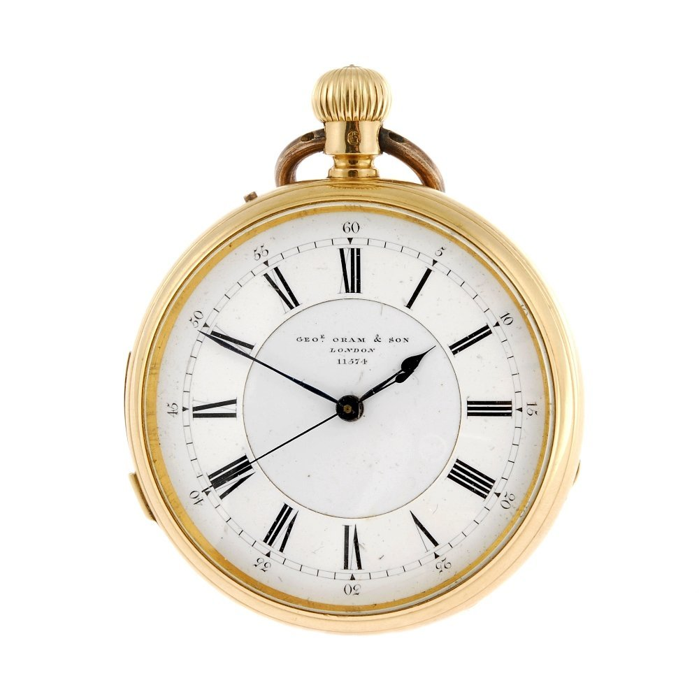 An 18ct gold keyless wind open face minute repeating po