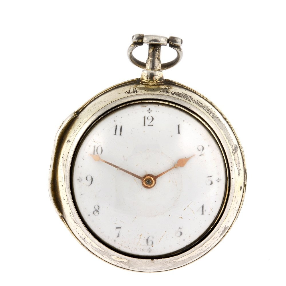 A gilt key wind pair case pocket watch by Samuel Lahee.