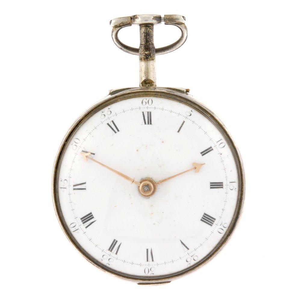 A silver key wind pair case pocket watch.