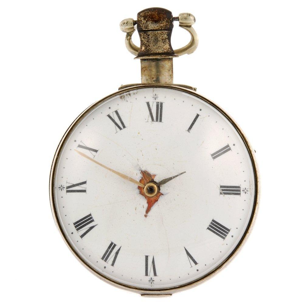 A silver key wind pair case John Alston pocket watch.