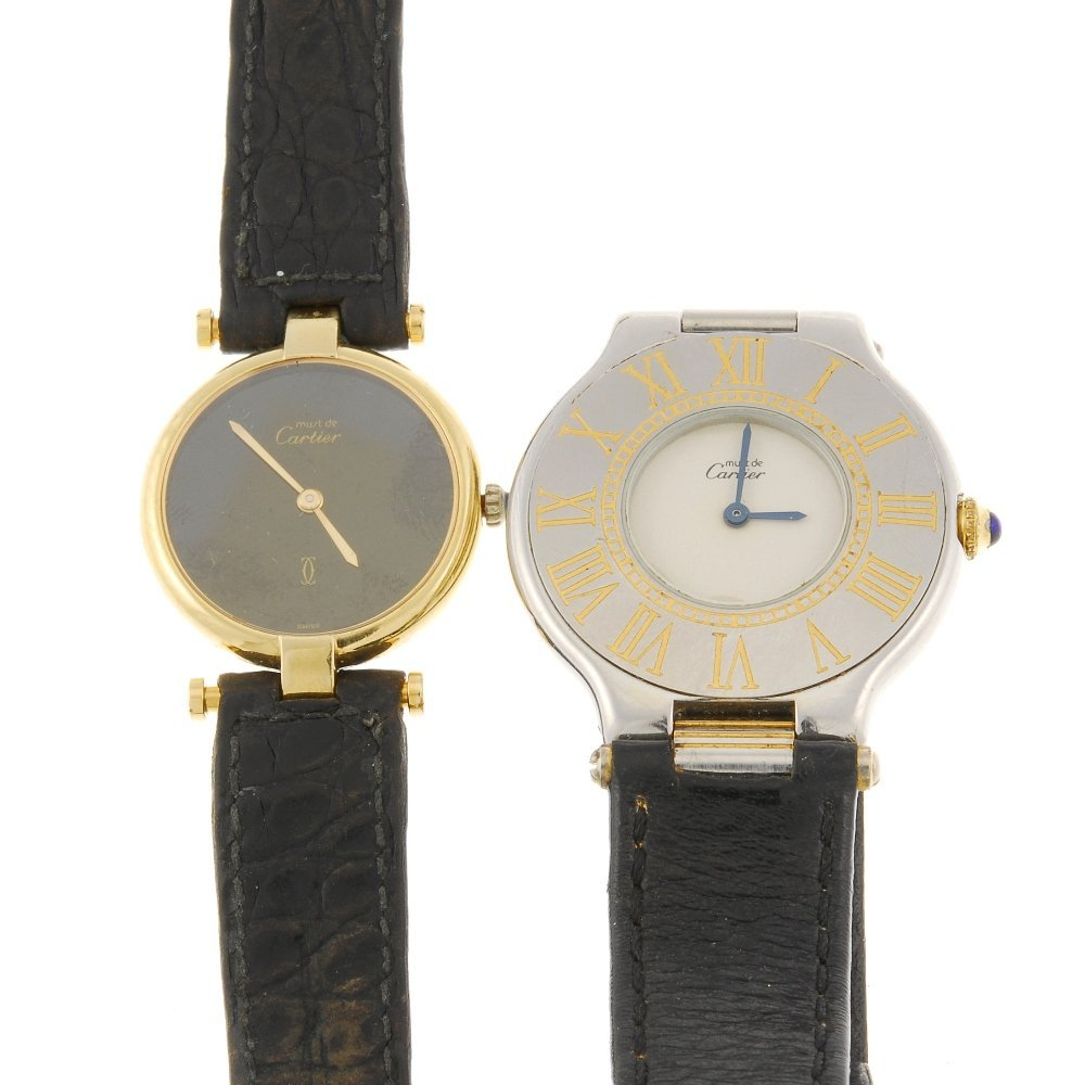 Two cartier wrist watches for repair purposes.