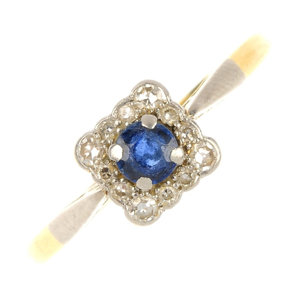 An early 20th century 18ct gold and platinum sapphire a