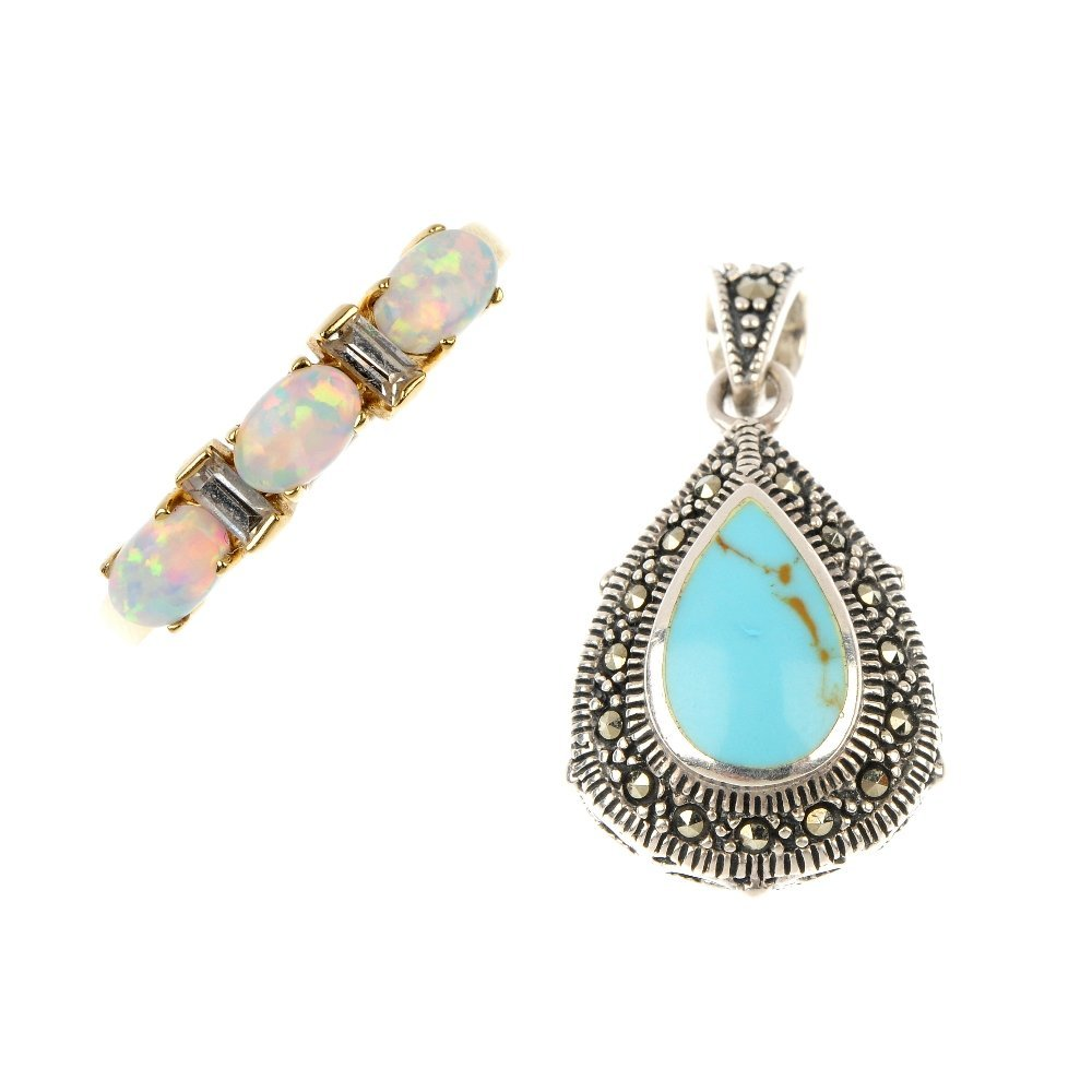 A synthetic opal and paste ring and a turquoise and mar