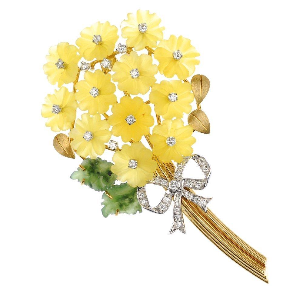 (105050) A diamond and gem-set floral cluster brooch.