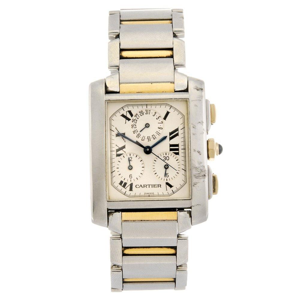 (132075645) A bi-metal quartz chronograph Cartier Tank