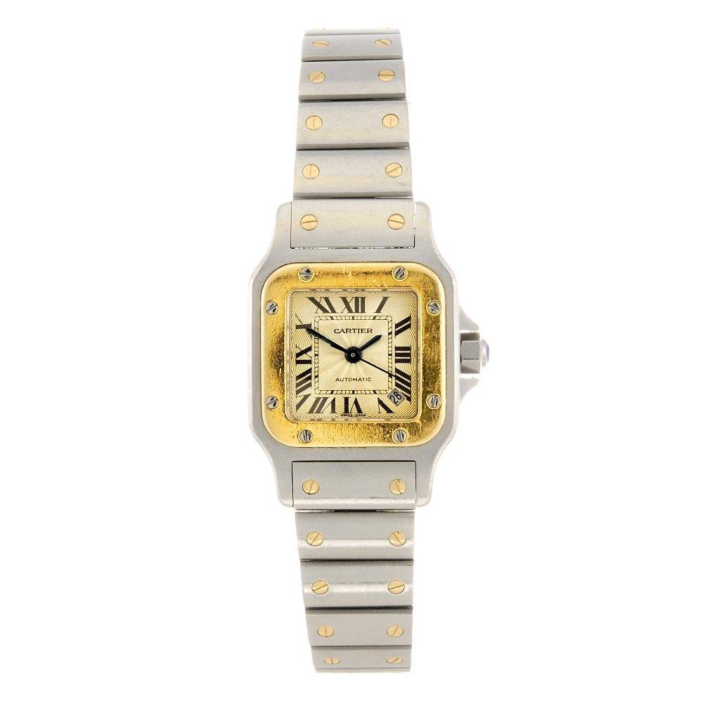 (86168) A bi-metal automatic Cartier Santos bracelet wa