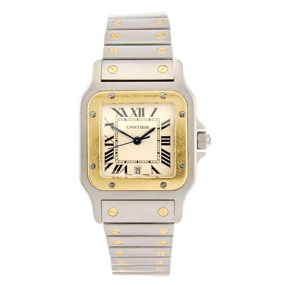 (86467) A bi-metal quartz Cartier Santos bracelet watch