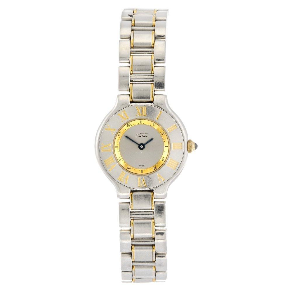 (101143) A bi-colour quartz Must De Cartier 21 bracelet