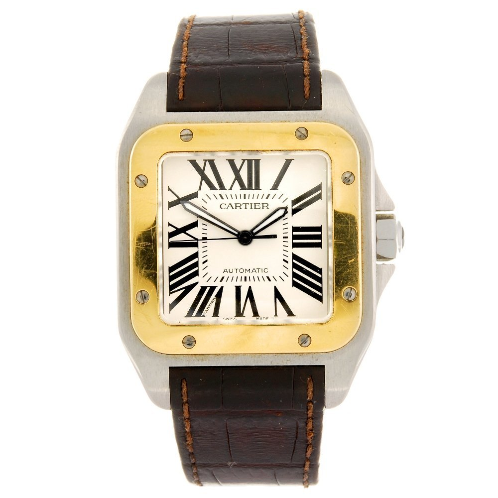 (101394) A bi-metal automatic Cartier Santos wrist watc