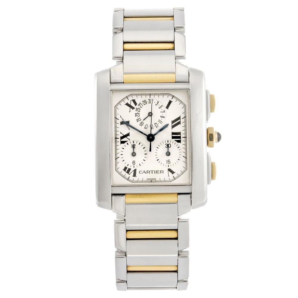 (104245) A bi-metal quartz Cartier Chronoflex bracelet
