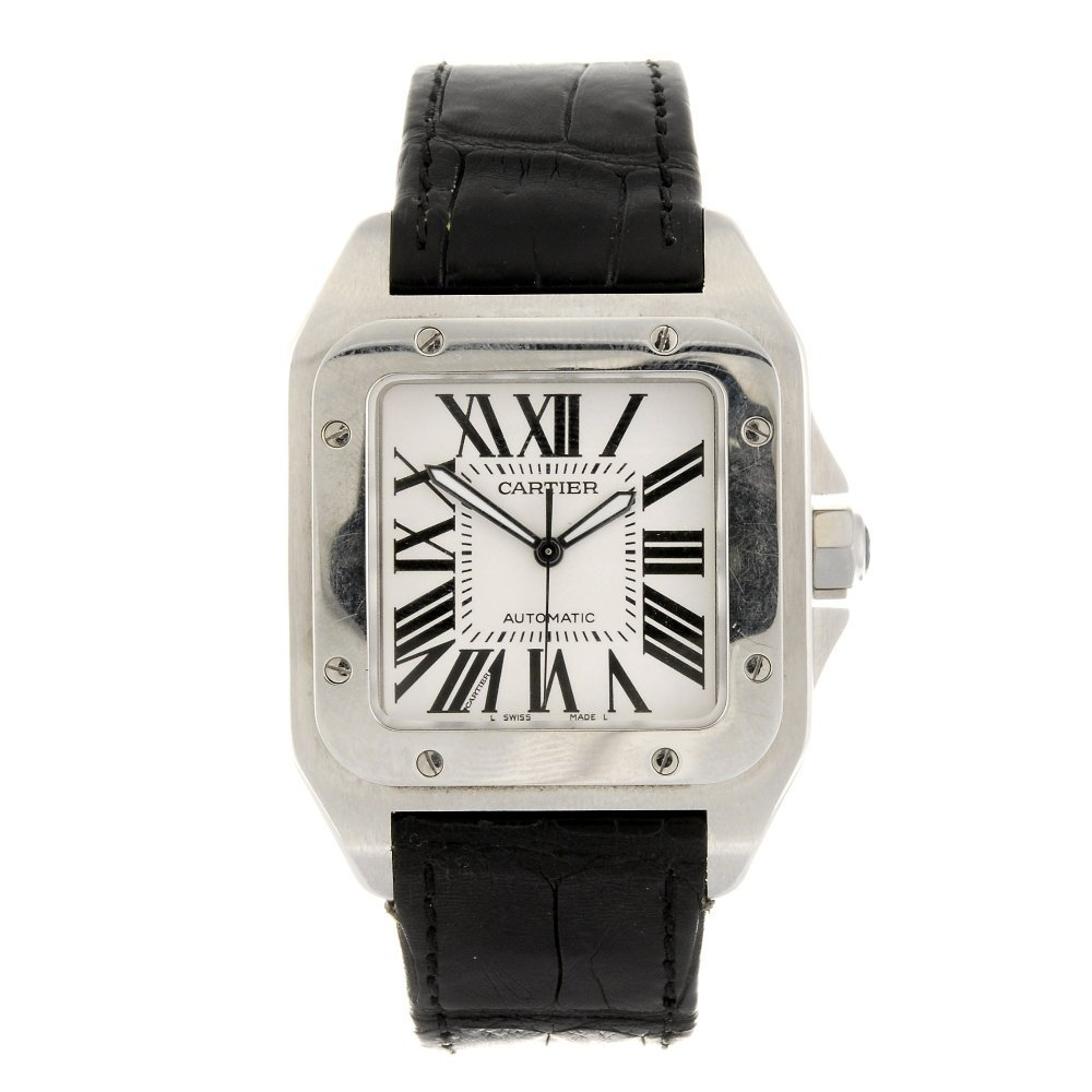 (116193414) A stainless steel automatic Cartier Santos