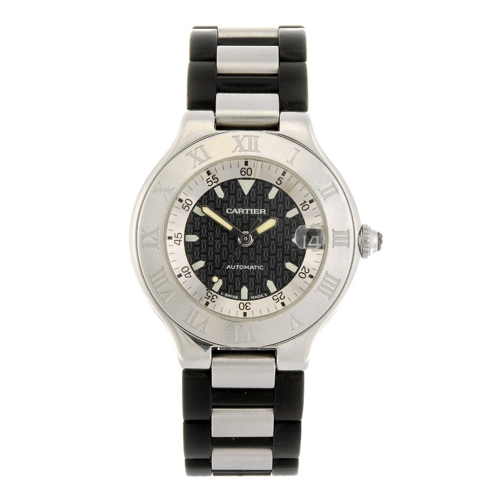 (904004140) A stainless steel automatic Cartier Autosca