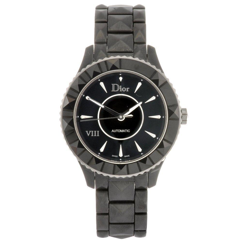 A black ceramic automatic Dior VIII bracelet watch.