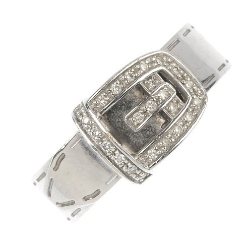 GUCCI - a diamond buckle ring.