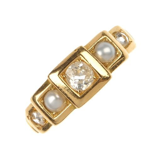 A split pearl and diamond ring.