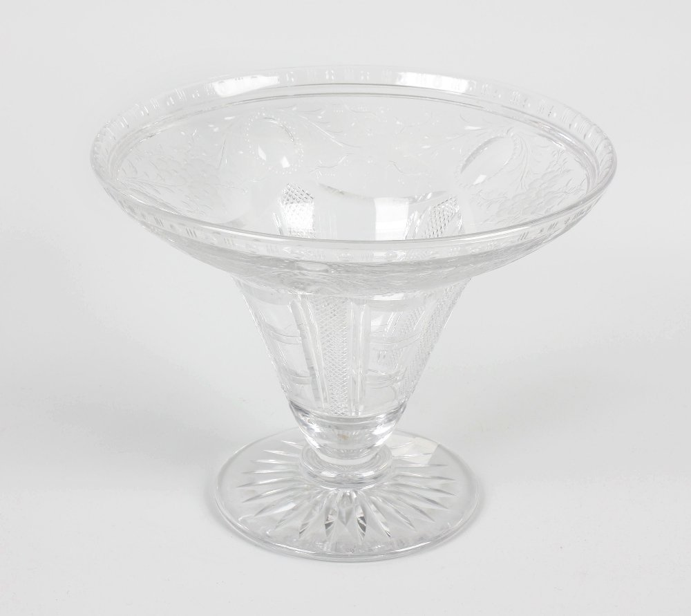 An early 20th century rock crystal cut glass vase