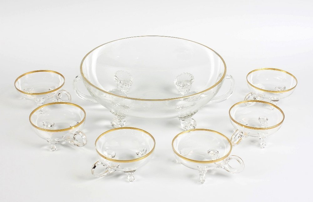 Glass punch bowl and six glasses