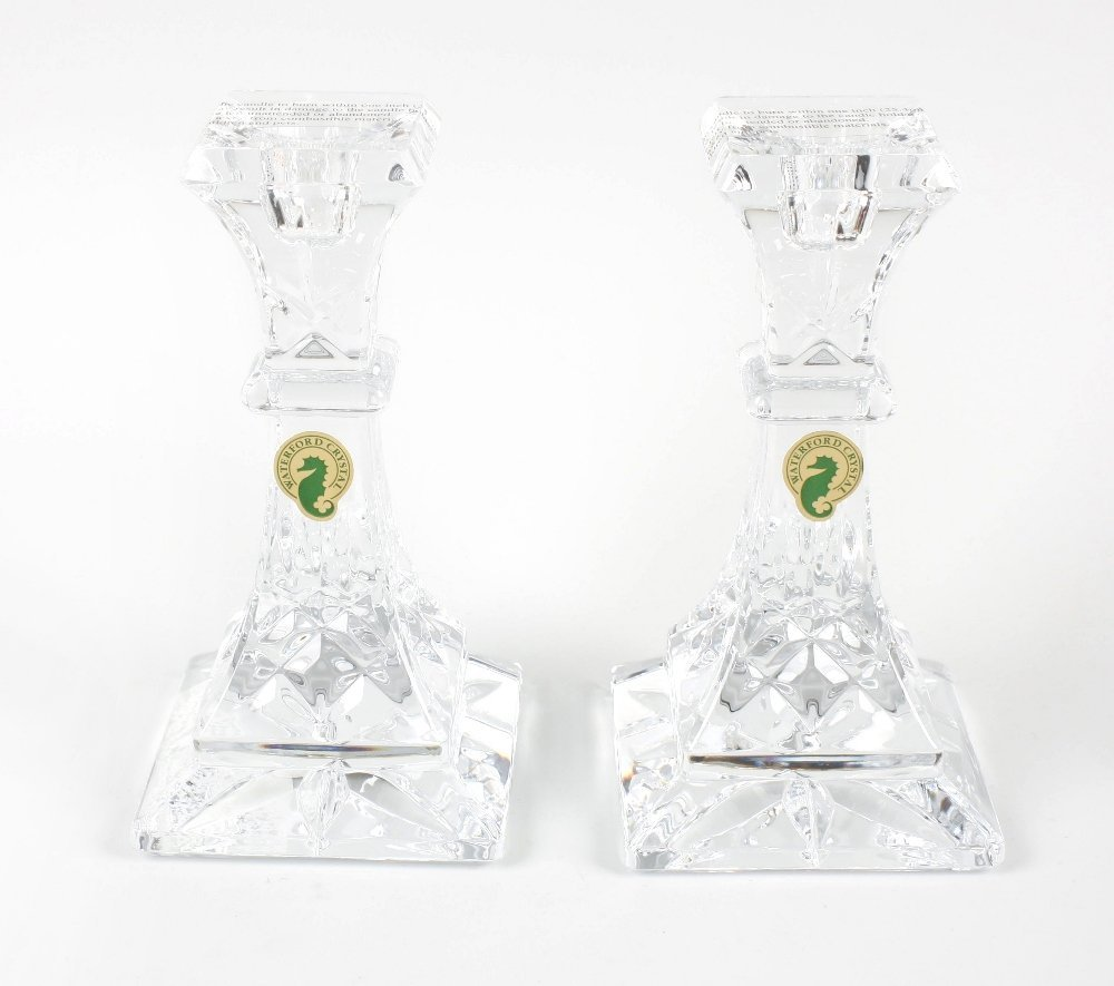 A pair of Waterford crystal candlesticks