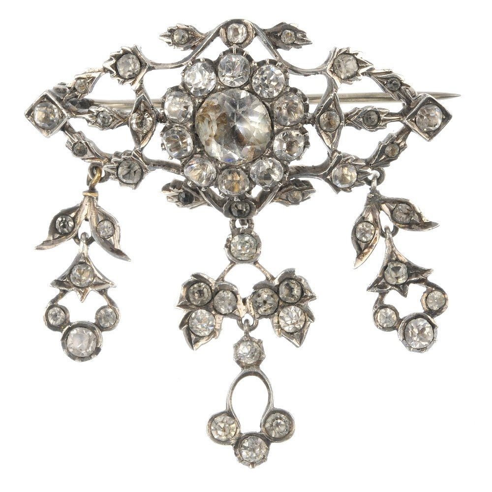 A late 19th century silver paste brooch.