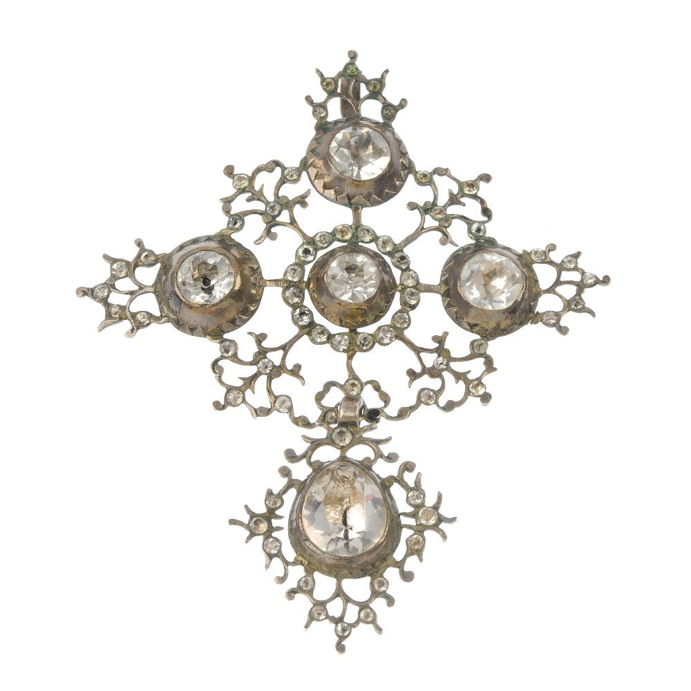 A continental mid 19th century silver, rock crystal and