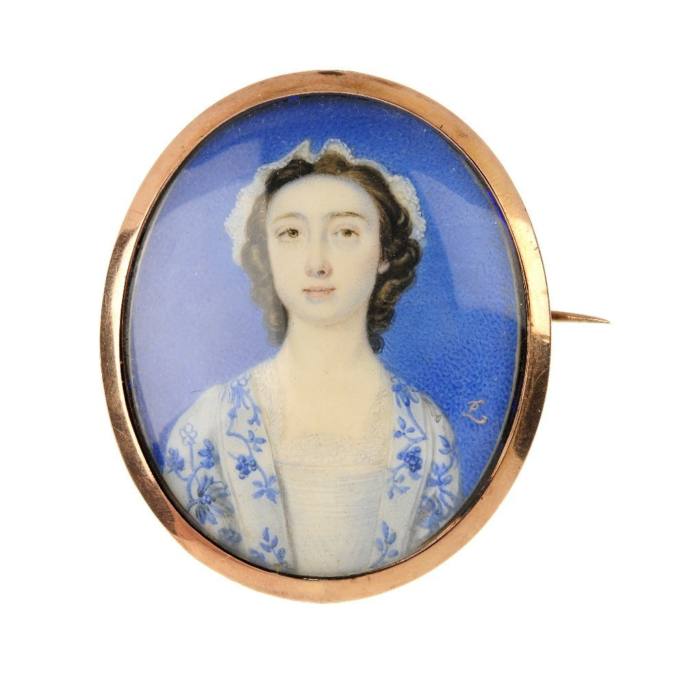 A 19th century 9ct gold portrait miniature brooch.