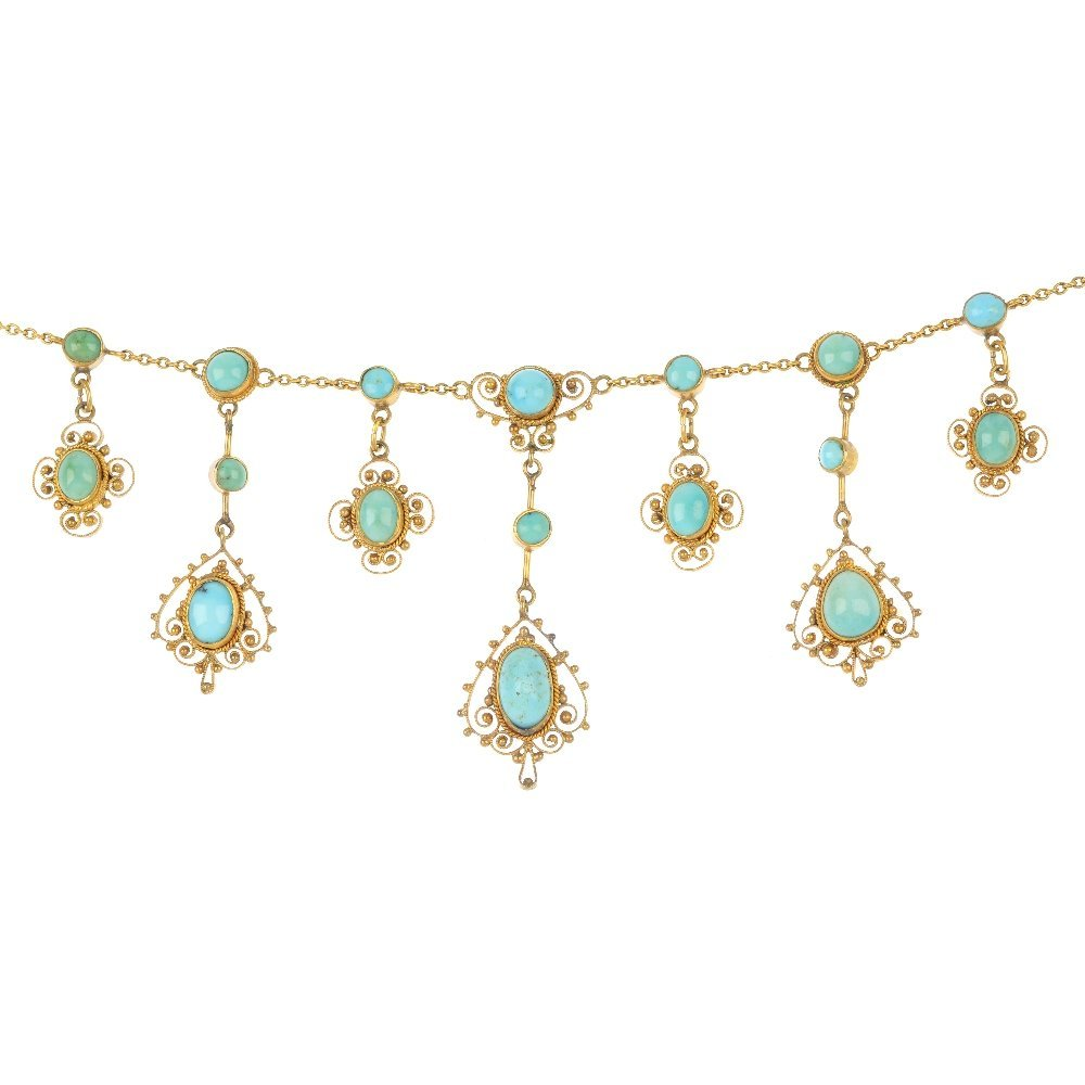 A set of early 20th century 12ct gold turquoise