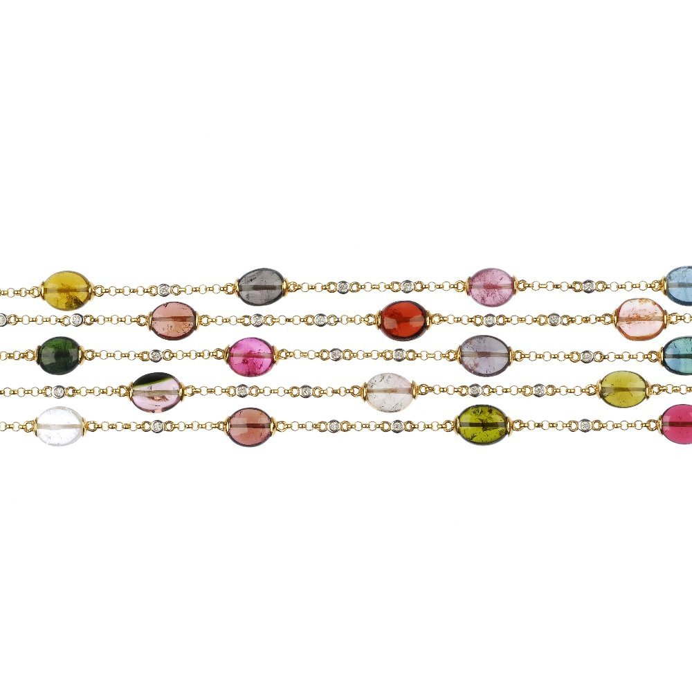 An 18ct gold tourmaline and diamond bracelet.