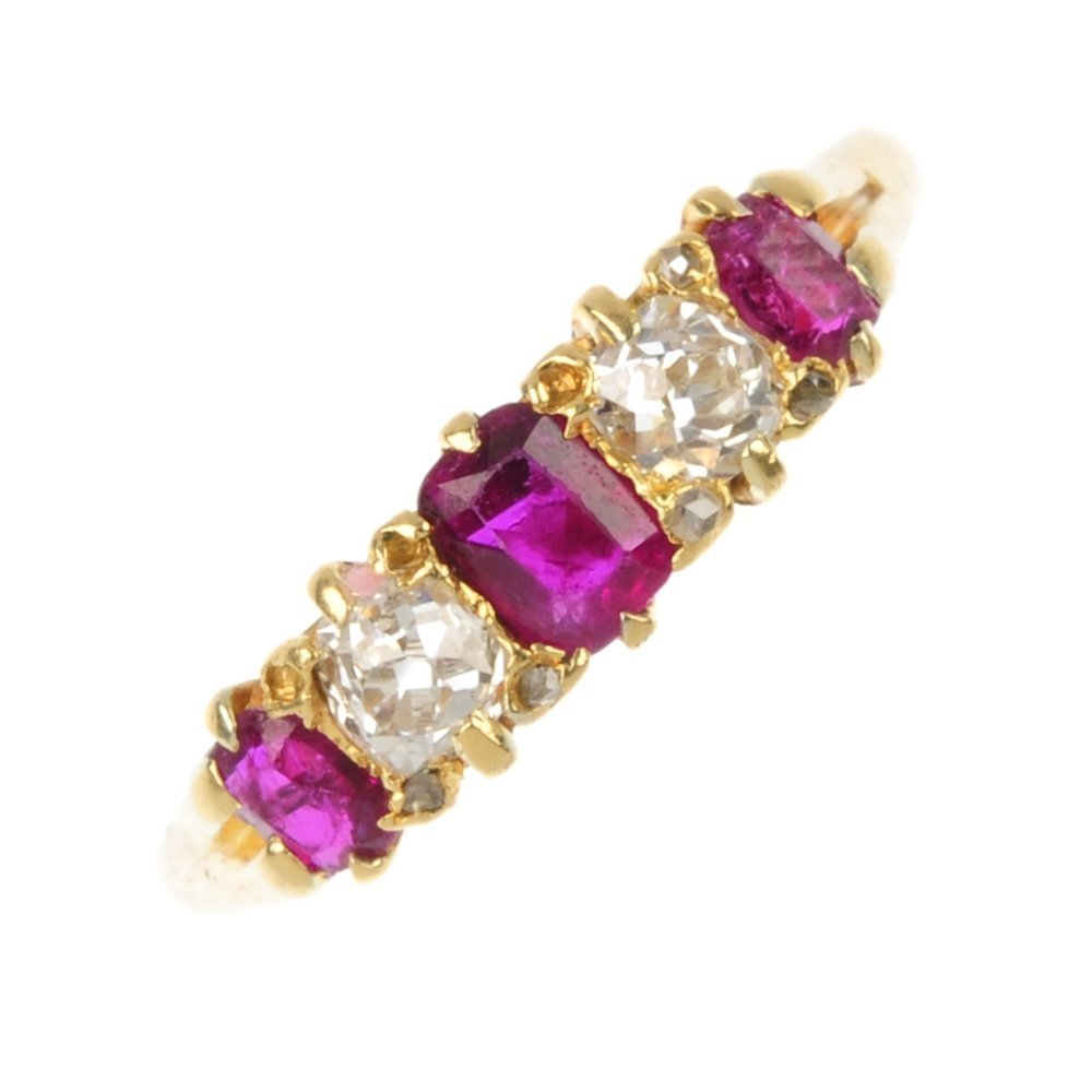 An early 20th century 18ct gold ruby and diamond