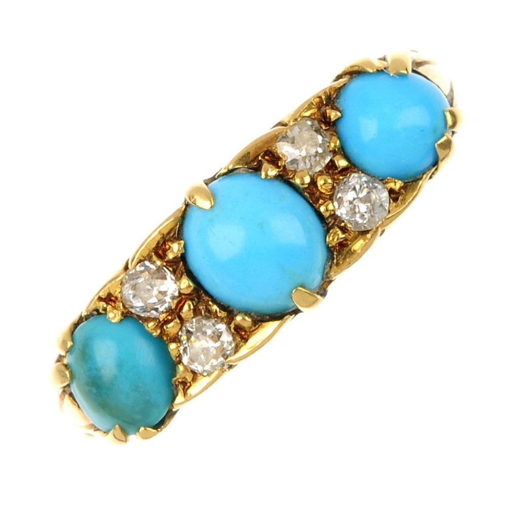 An early 20th century 18ct gold turquoise and diamond