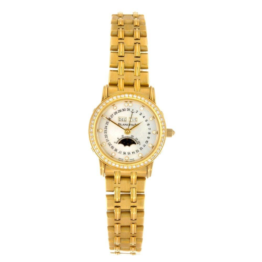 An 18k gold automatic lady's Blancpain bracelet watch.