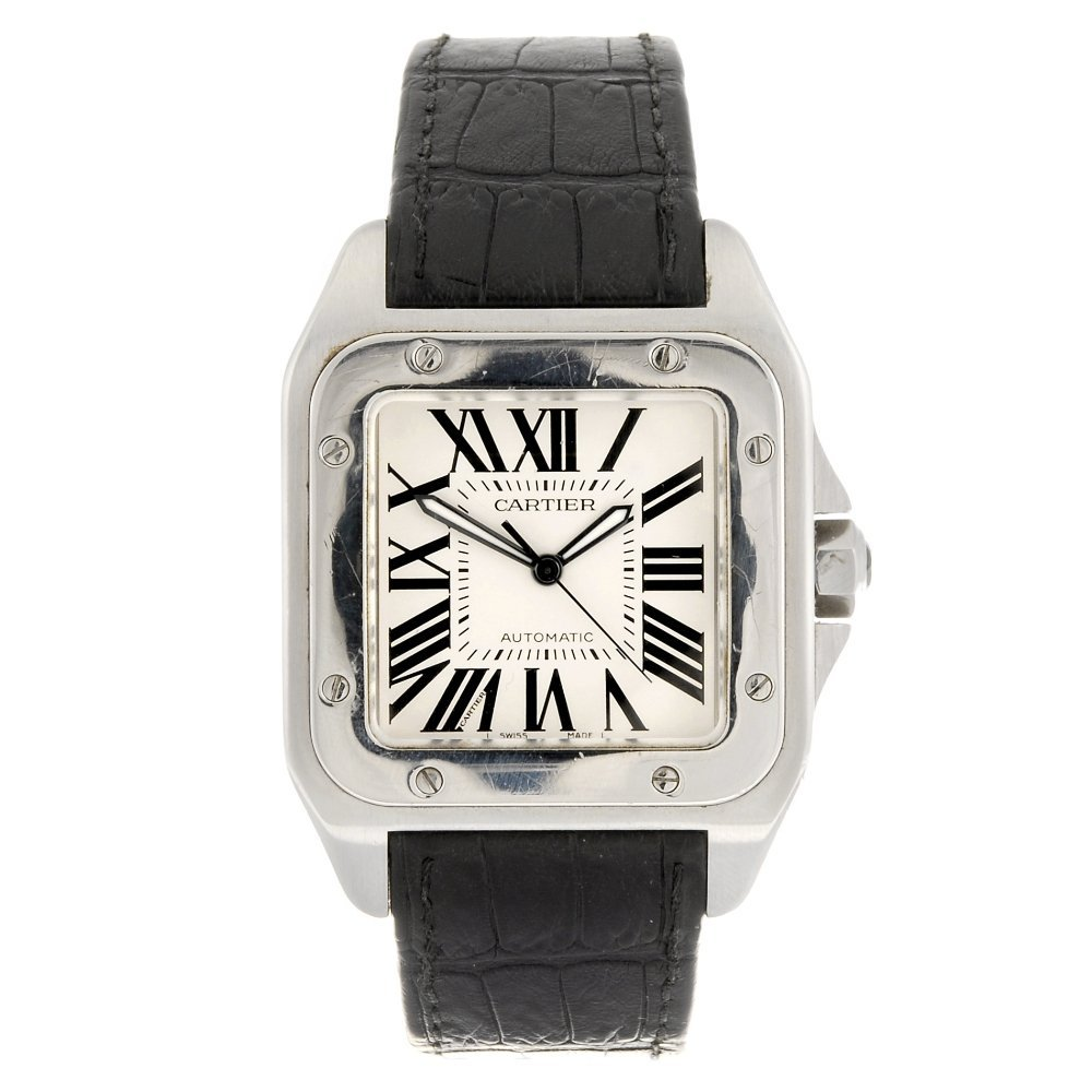(1061022408) A stainless steel automatic Cartier Santos