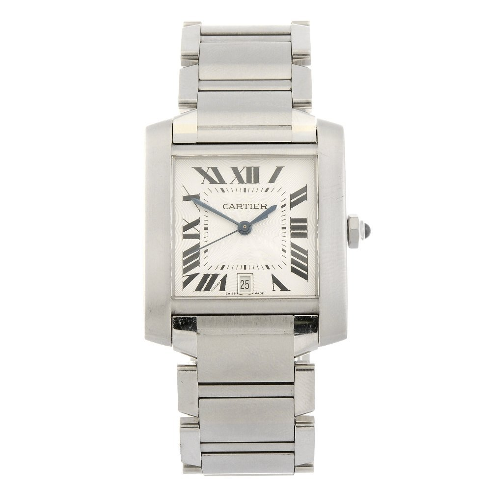 (108109313) A stainless steel automatic Cartier Tank Fr