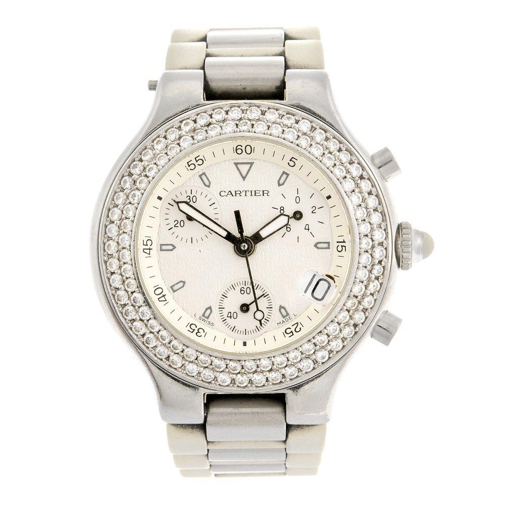 (045929) A stainless steel quartz chronograph Cartier C