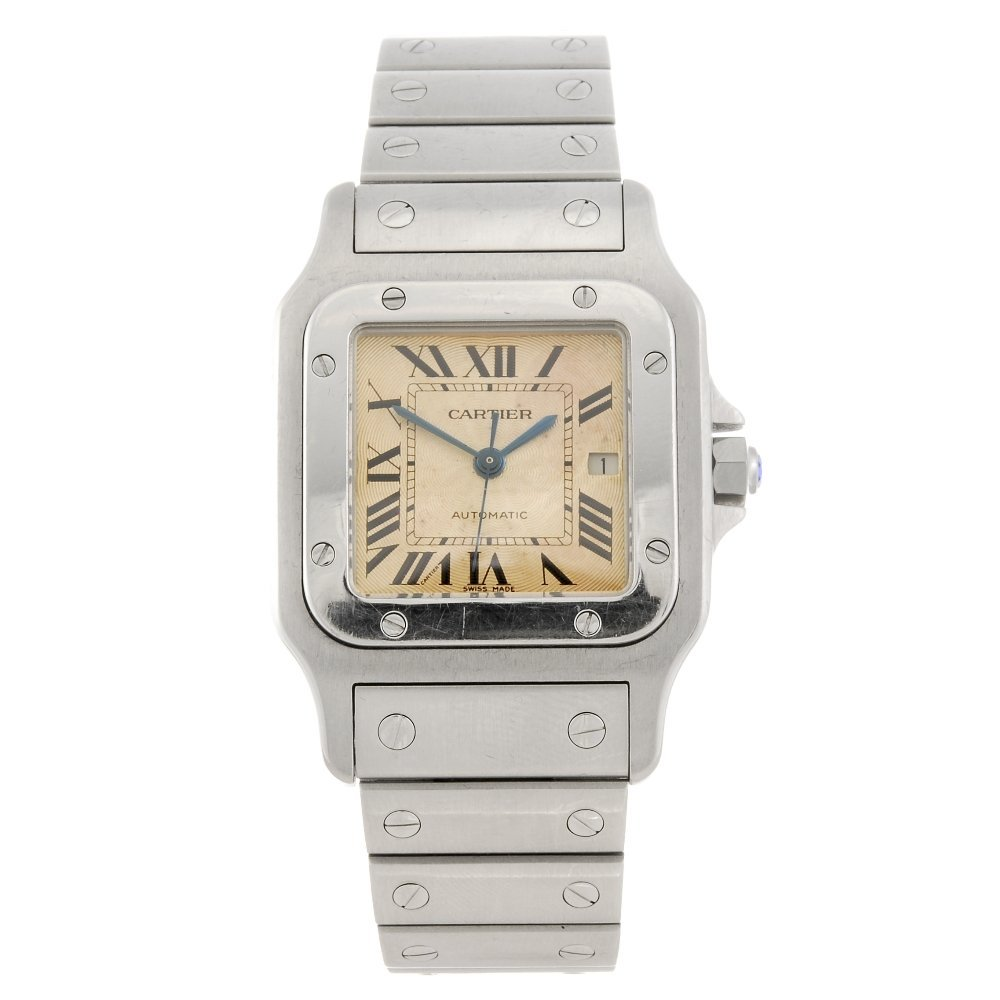 (104164) A stainless steel automatic Cartier Santos bra