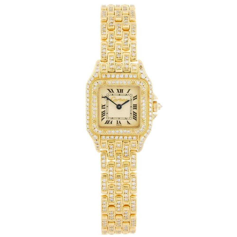 (107008) An 18k gold quartz Cartier Panthere bracelet w