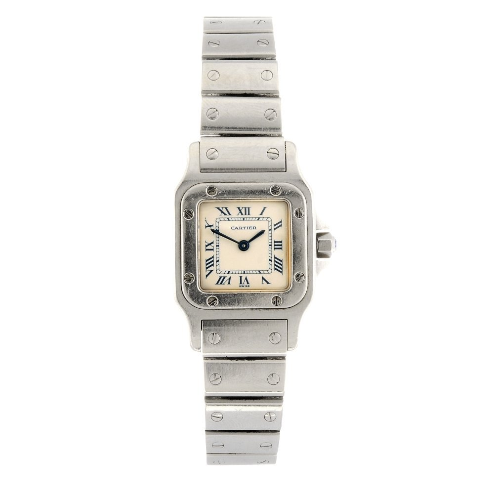 (906008041) A stainless steel quartz Santos bracelet wa