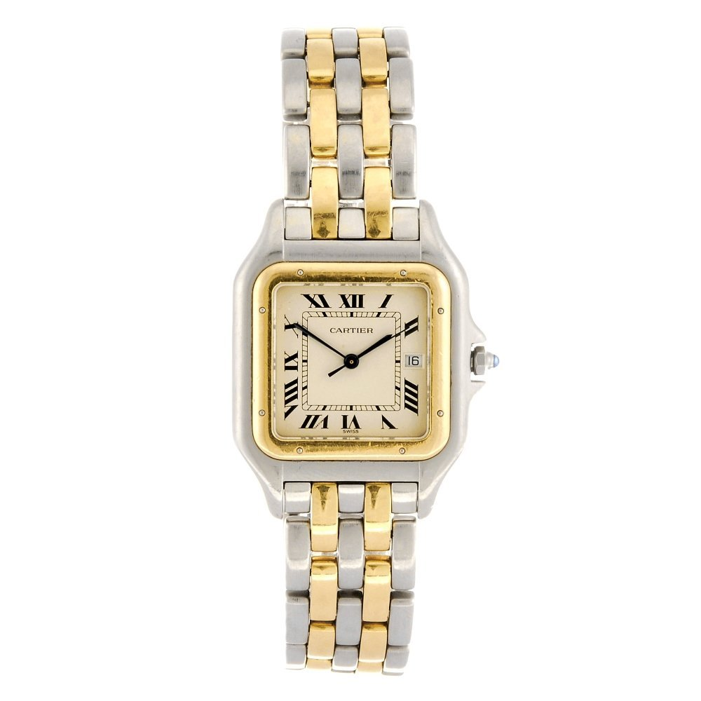 (400052772) A bi-metal quartz Cartier Panthere bracelet