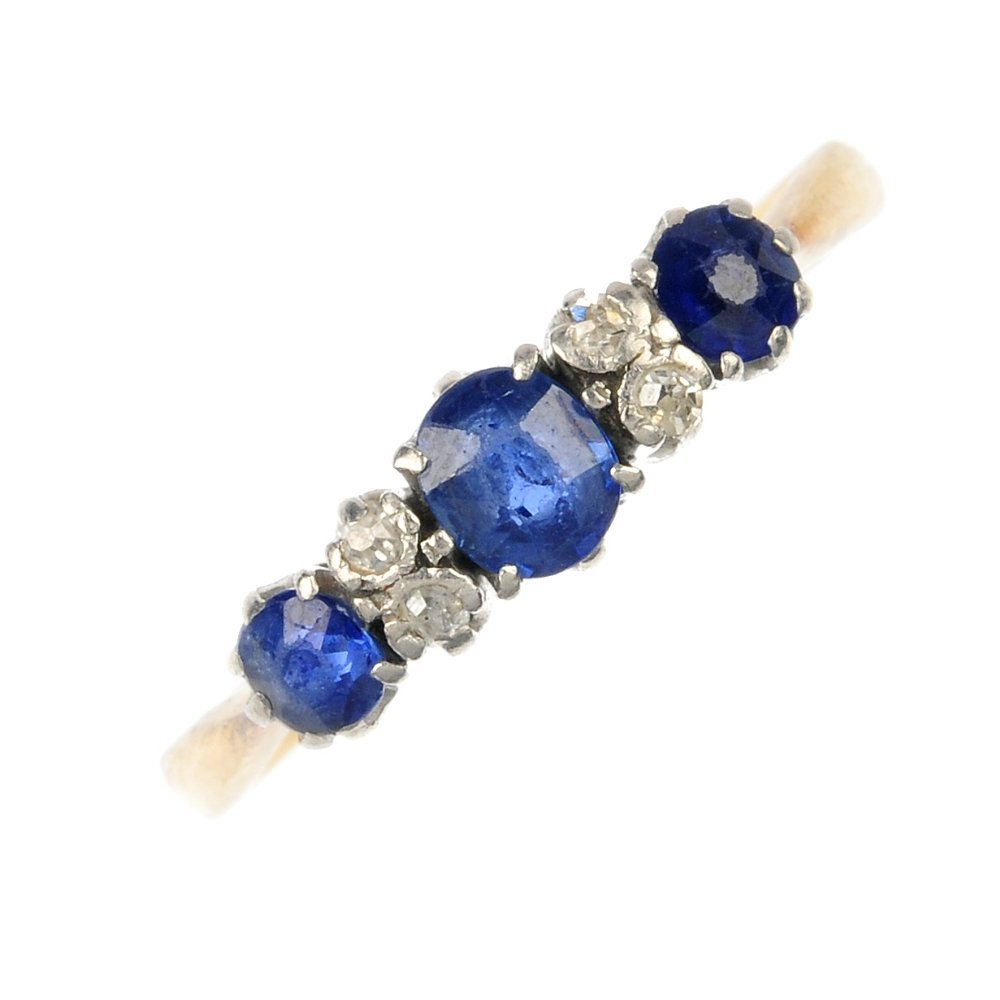A diamond and sapphire ring.