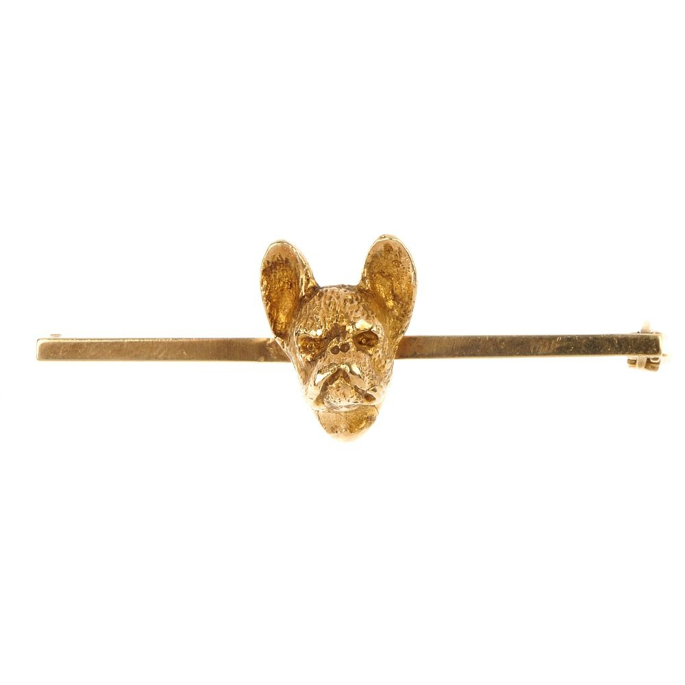 A 9ct gold French Bulldog bar brooch.
