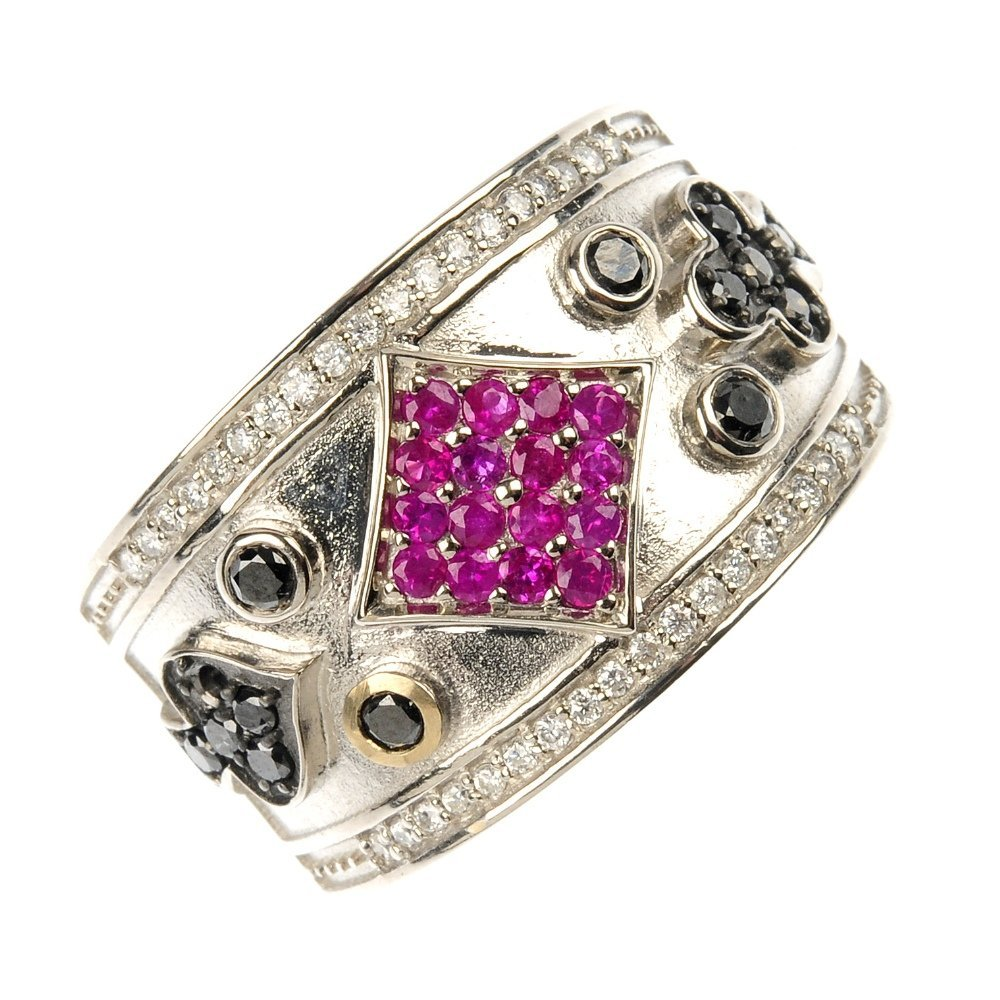 A diamond and ruby band ring.