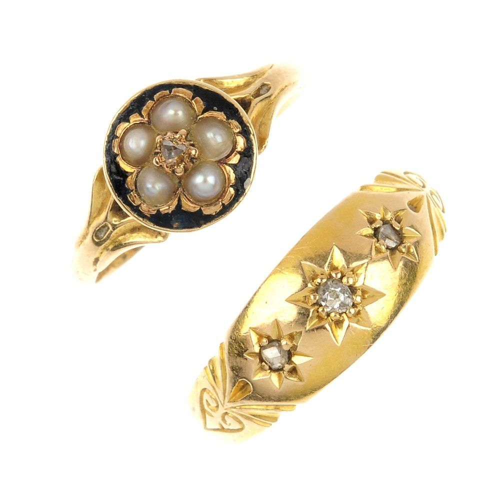 Two late Victorian 18ct gold gem-set rings.