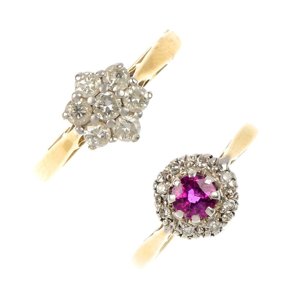Two 18ct gold diamond and gem-set rings.