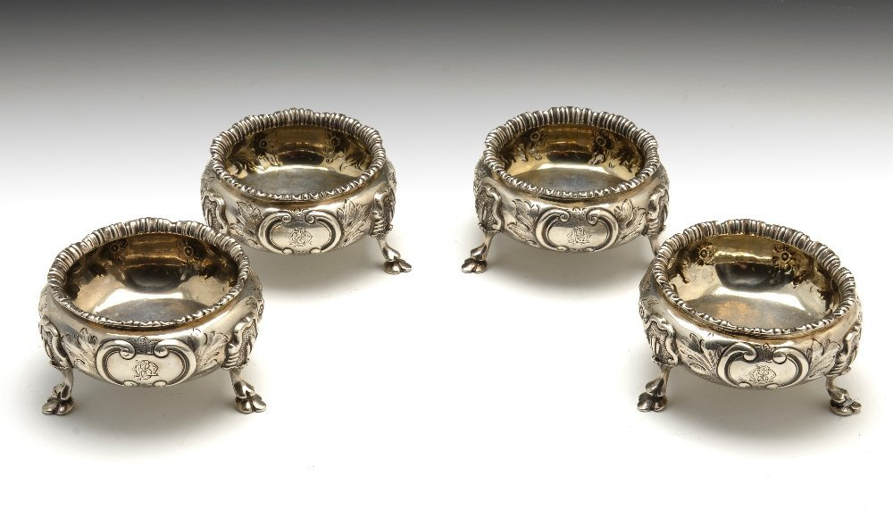 Two matched pairs of Victorian open salts.
