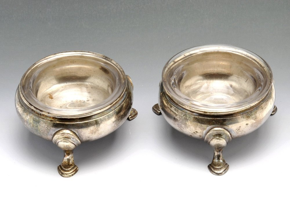 A George III silver pair of cauldron open salts.
