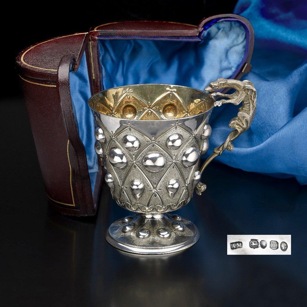 A Victorian cased silver christening mug by Alexander M